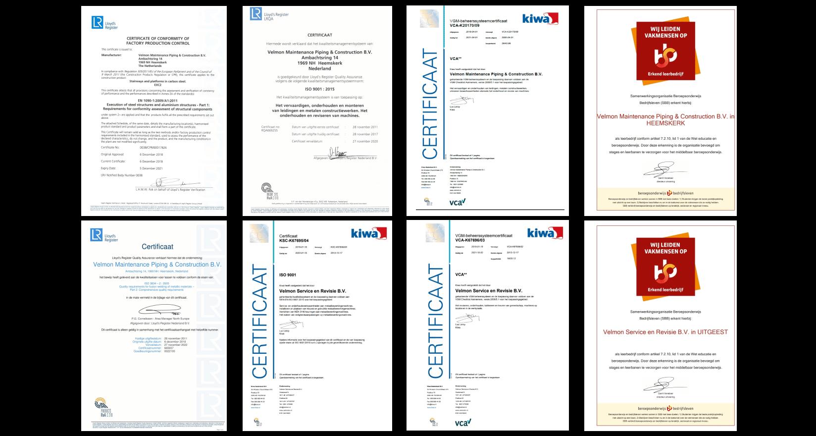 Velmon group certificaten